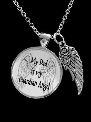 My Dad Is My Guardian Angel Wing In Memory Remembrance Sympathy Gift Necklace