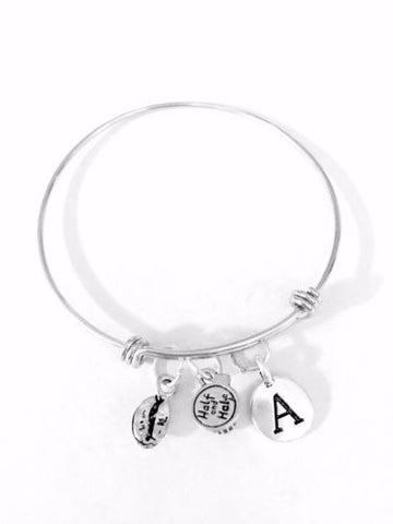 Initial Coffee Bean Half And Half Gift For Her Adjustable Bangle Charm Bracelet
