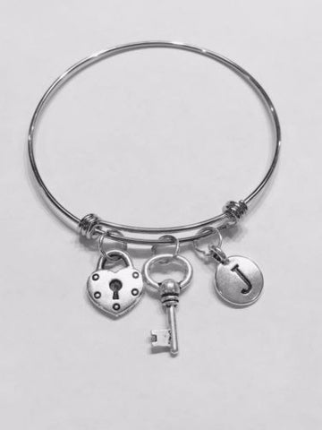 Initial Bangle Charm Bracelet Heart Lock And Key Mother's Gift Wife Girlfriend