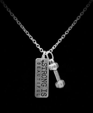 Inspirational Strong Is Beautiful Dumbbell Strength Gift Crossfit Necklace