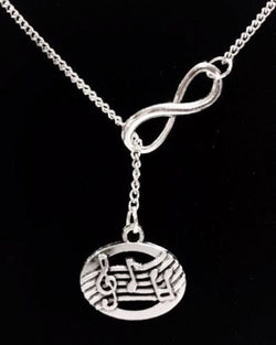 Infinity Musical Note Treble Clef Singer Musician Band Lariat Necklace
