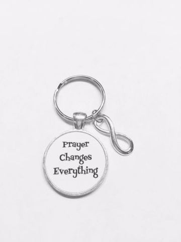 Prayer Changes Everything Infinity Christmas Gift Inspirational Keychain