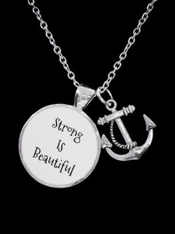 Anchor Strong Is Beautiful Inspirational Fitness Sports Mom Friend Gift Necklace
