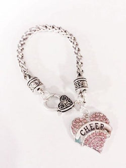 Cheer Crystal Pink Heart Gift Cheerleader Cheerleading Squad Charm Bracelet