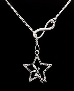 Fairy Sitting On Star Guardian Angel Fairytale Lariat Style Necklace