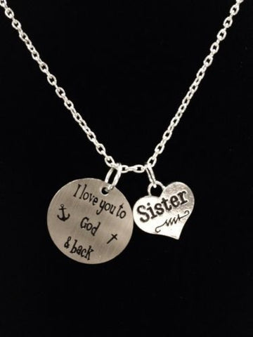Sister I Love You To God And Back In Memory Heaven Anchor Necklace