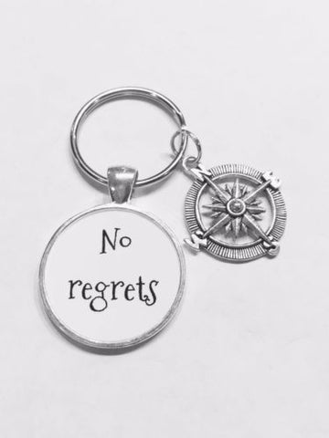 Compass No Regrets Inspirational Journey Nautical Direction Gift Keychain