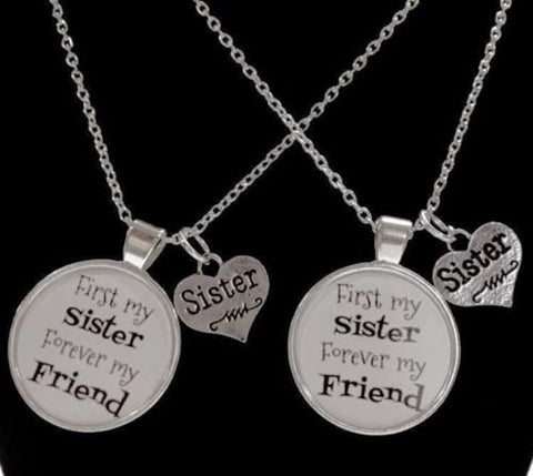 2 Necklaces First My Sister Forever My Friend Sisters Gift Quote Set