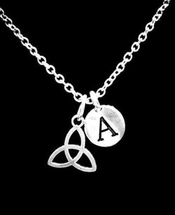 Choose Initial Letter Celtic Knot Triquetra Irish Trinity Gift Charm Necklace
