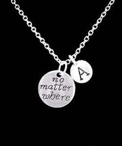 Choose Initial, No Matter Where Long Distance Best Friend Sister Gift Necklace