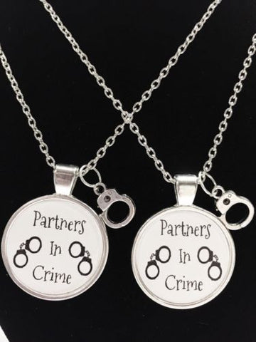 2 Necklaces Partners In Crime Handcuff Best Friends Couple's His And Hers Sister