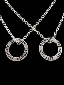 2 Necklaces Eternity Affirmation Ring Forever Couple's His And Hers Set
