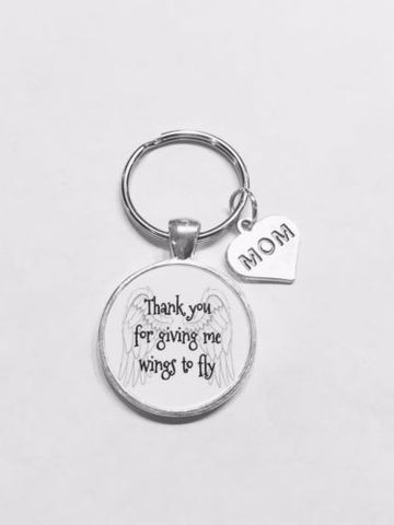 Thank You For Giving Me Wings To Fly Mom Gift Mother Keychain