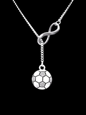 Soccer Ball Infinity Sports Gift Mom Daughter Lariat Necklace