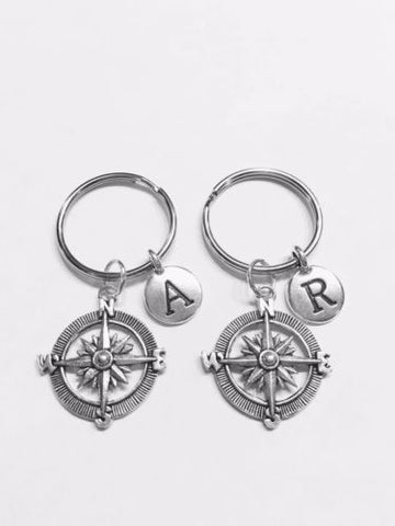 Choose Initial, Compass Best Friend Sister Daughter Nautical Gift Keychain Set
