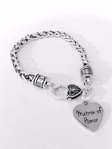 Matron Of Honor Bridal Party Wedding Gift Charm Bracelet