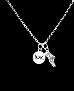 10K Sports Running Shoe Runner Marathon Gift Necklace