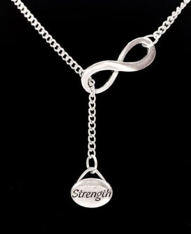Infinity Small Strength Charm Inspirational Crossfit Fitness Lariat Necklace