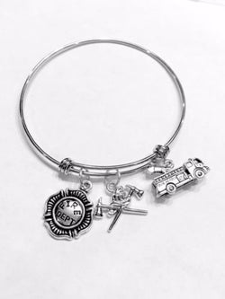 Adjustable Bangle Charm Bracelet Fire Axe Dept Truck Fireman Firefighter Wife