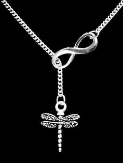 Dragonfly Charm Gift Animal Insect Gift For Her Infinity Lariat Necklace