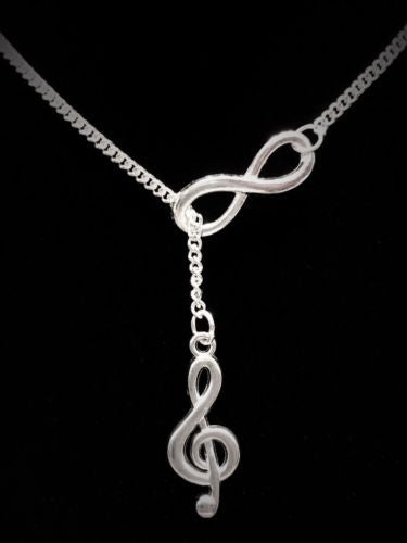 Infinity Music Treble Clef Marching Band Musical Note Gift Lariat Necklace