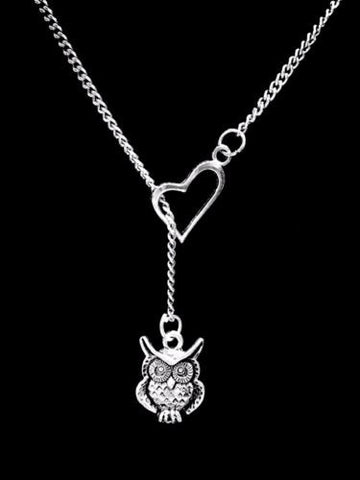 Owl Animal Nature Friend Sister Mother's Day Mom Heart Lariat Gift Necklace
