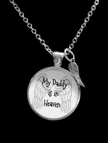 My Daddy Is In Heaven Guardian Angel In Memory Angel Wing Necklace