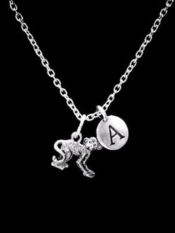 Initial Monkey Animal Nature Friend Sister Mother's Day Mom Gift Necklace