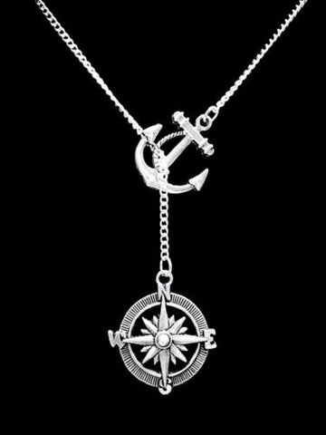 Compass Anchor Refuse To Sink Nautical Beach Y Lariat Necklace