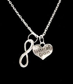 Infinity Sister Of The Groom Gift Bridal Wedding Party Necklace