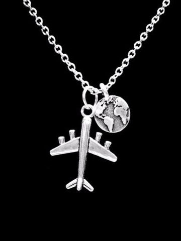 Airplane Earth Planet Travel Long Distance Sister Best Friends Travel Necklace