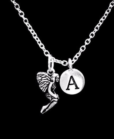 Choose Initial, Fairy Mythical Fantasy Daughter Wife Valentine Gift Necklace