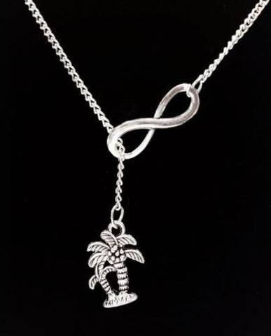 Infinity Palm Tree Beach Ocean Nautical Lariat Necklace