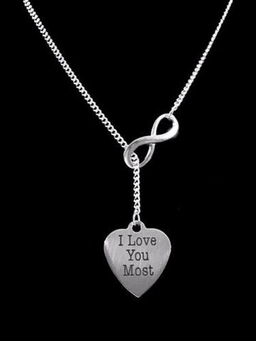 Infinity I Love You Most Heart Valentine Gift Wife Girlfriend Lariat Necklace