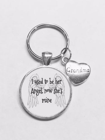 Grandma I Used To Be Her Angel Now She's Mine In Heaven Guardian Angel Keychain