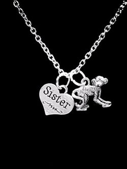 Monkey Animal Sister Nature Mother's Day Sisters Gift Necklace