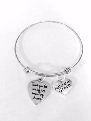 Adjustable Bangle Charm Bracelet Mother Of The Groom Thank You For Raising Gift