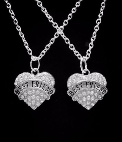 Crystal Best Friend Heart Best Friends Friendship Gift Charm Necklace Set