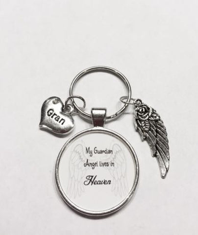 Gran In Heaven Memory Guardian Angel Wing Miss You Keychain