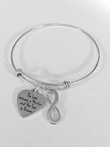 Adjustable Bangle Charm Bracelet The Love Between Mother And Son Is Forever Gift