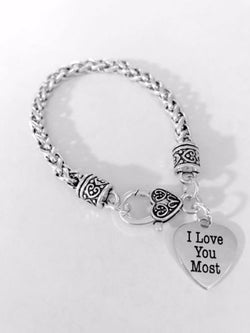 I Love You Most Heart Mother's Gift Mom Wife Daughter Girlfriend Charm Bracelet