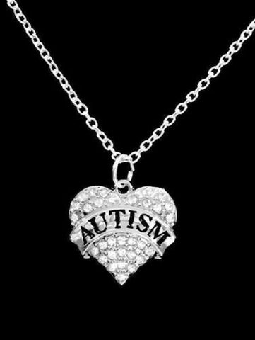Crystal Autism Heart Awareness Gift Mom Charm Necklace