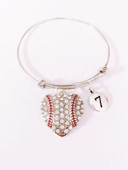 Baseball Number Softball Sports Mom Gift Adjustable Bangle Charm Bracelet