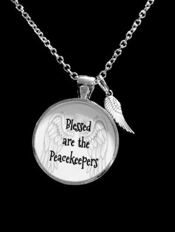 Blessed Are The Peacekeepers Police Officer LEO Wing Gift Necklace
