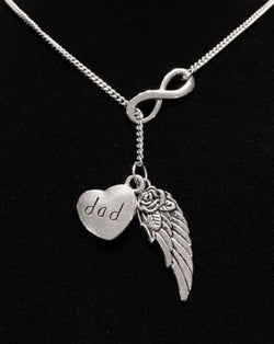 Guardian Angel Wing Dad Infinity In Memory Heaven Y Lariat Necklace