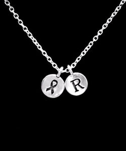 Choose Initial, Cancer Awareness Ribbon Gift Survivor Necklace
