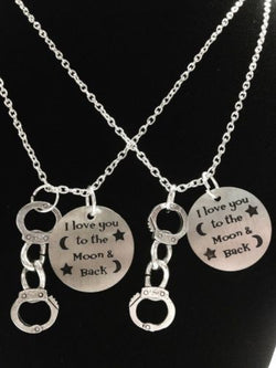 2 Necklaces I Love You To The Moon And Back Friend Partners In Crime Handcuff