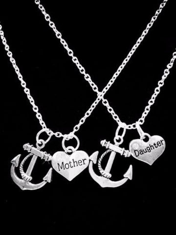 2 Necklaces Anchor Mother Daughter Heart Gift Charm Necklace Set