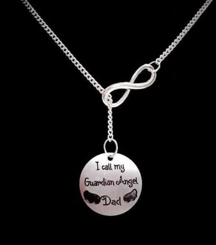 Infinity I Call My Guardian Angel Dad, In Memory Heaven Y Lariat Necklace