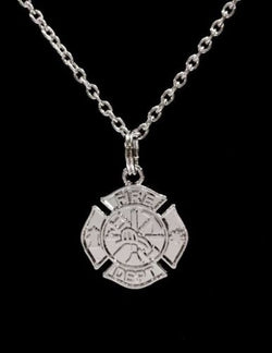 Maltese Cross Fireman Firefighter Wife Girlfriend Department Gift Necklace